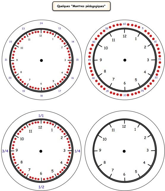 Apprendre à lire l'heure: 27 cadrans